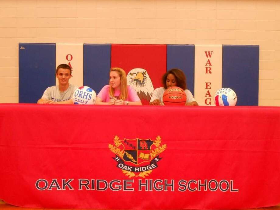 Claire Schumann, Raquel Kellow and Matt Wagner will be continuing their athletic careers at the college level. Photo: Courtesy Photo