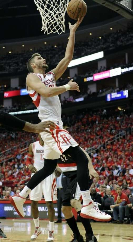 Rockets forward Chandler Parsons goes up for two points against the Portland Trail Blazers in Game 5. The Rockets will try to force a decisive game 7 tonight in Portland.