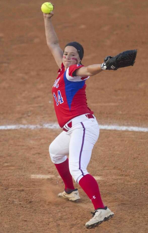 Oak Ridge pitcher Jessica Rodriguez, pictured here in a game against Spring last week, led the Lady War Eagles to an area-round victory over Cedar Ridge on Thursday.