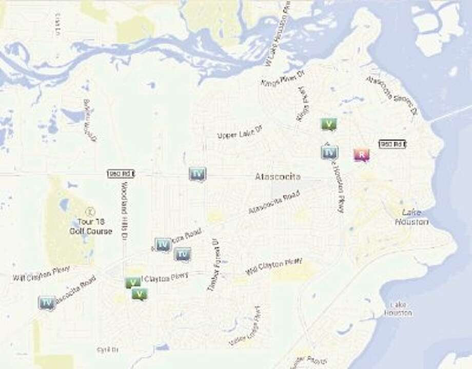 Law enforcement activity in the Atascocita area April 17-23. Legend: R - robbery; V - stolen vehicle; TV - theft from vehicle (BMV); B - burglary; R - robber. Photo: Map By Crimereports.com / @WireImgId=2672935