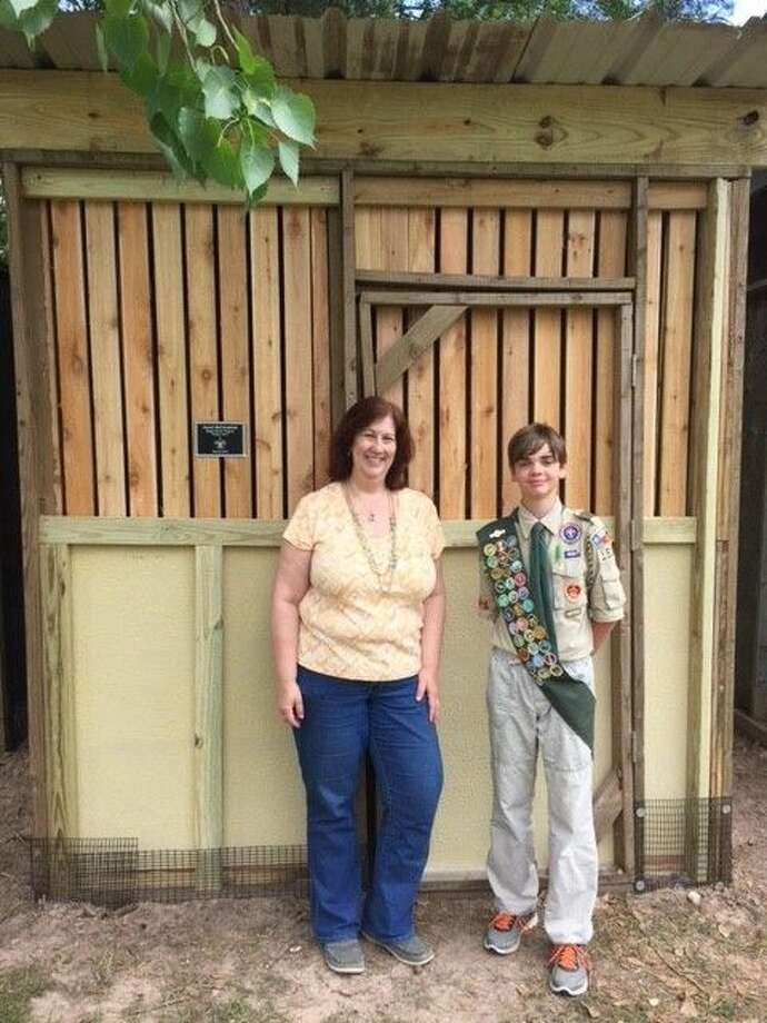 Jared McCormick and Lisa Wolling, Executive Director of Friends of Texas Wildlife, at the completion of his Eagle Scout project. Photo: Submitted Photo
