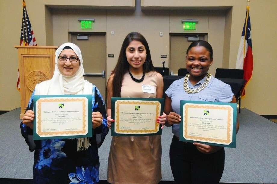 Scholarship Award winners Samah Kahn(her mother pictured), Veronica Sanchez and Zhorae Adams. Photo: Tony Gaines