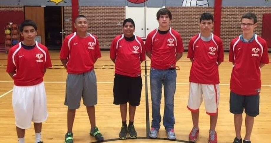 The eighth-grade Deer Park Junior High tennis team is celebrating back-to-back North Zone championships thanks to this crew of netters. They are (L-R) Josh Ramirez, Patrick Hernandez, Isaac Sencion, Bryce Mead, Broc Weidner and Jeremy Yarbrough. Photo: Courtesy Photo