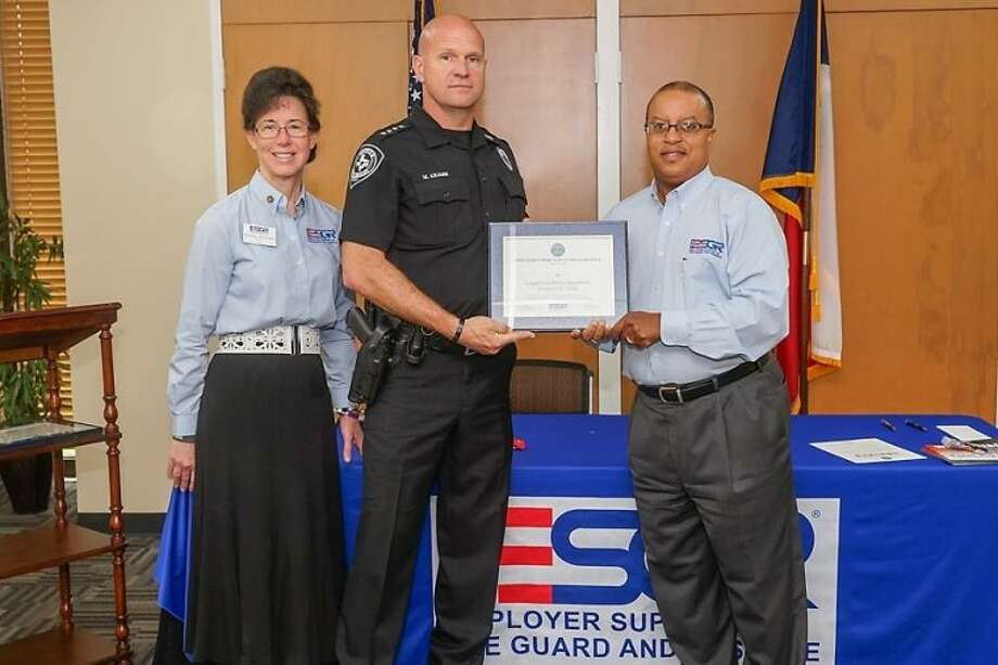 LCPD Chief Michael Kramm was presented an award recognizing his department's support for its armed service members.