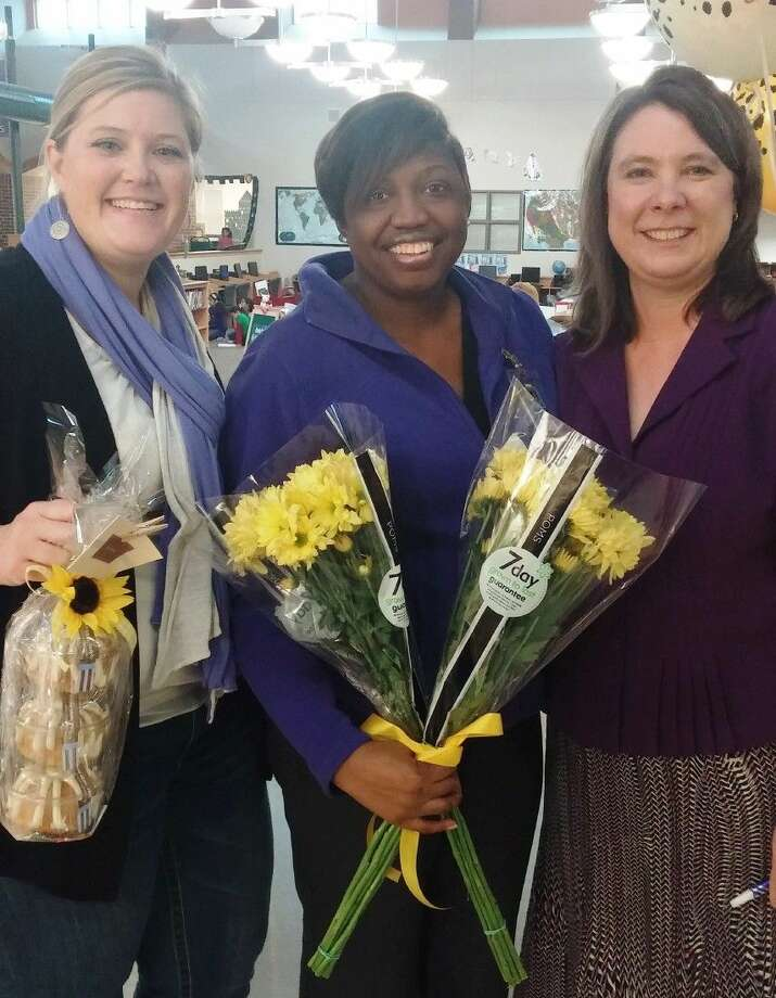 Alvin ISD Counselor of the Year (center) pictured with Assistant Principal Jennifer Marz (left) and campus Principal Elizabeth Sassin (right)