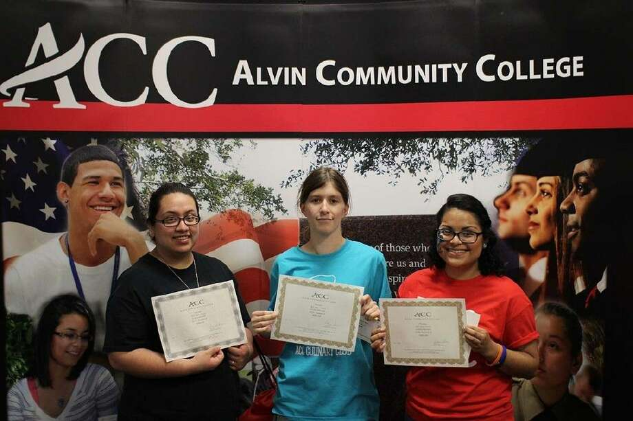 Three of the ACC Open House Scholarship winners from left, Guadalupe Aguilera, of Pearland, Shelby Barnett, of Alvin, Llasmin Interiano, of Manvel.
