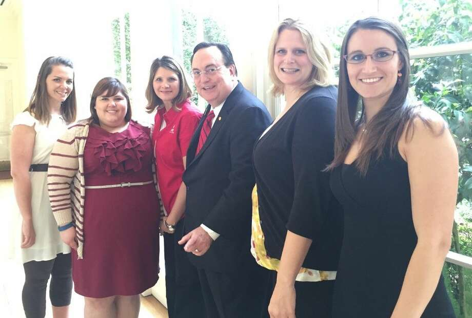 From left, are Ashley Greene, Laura Whitfield, Stacey Ward, ATPE State President Richard Wiggins of Boerne, Region 4 ATPE Scholarship Chairman Emily Lucas of Cypress-Fairbanks ATPE and Allison Seff.