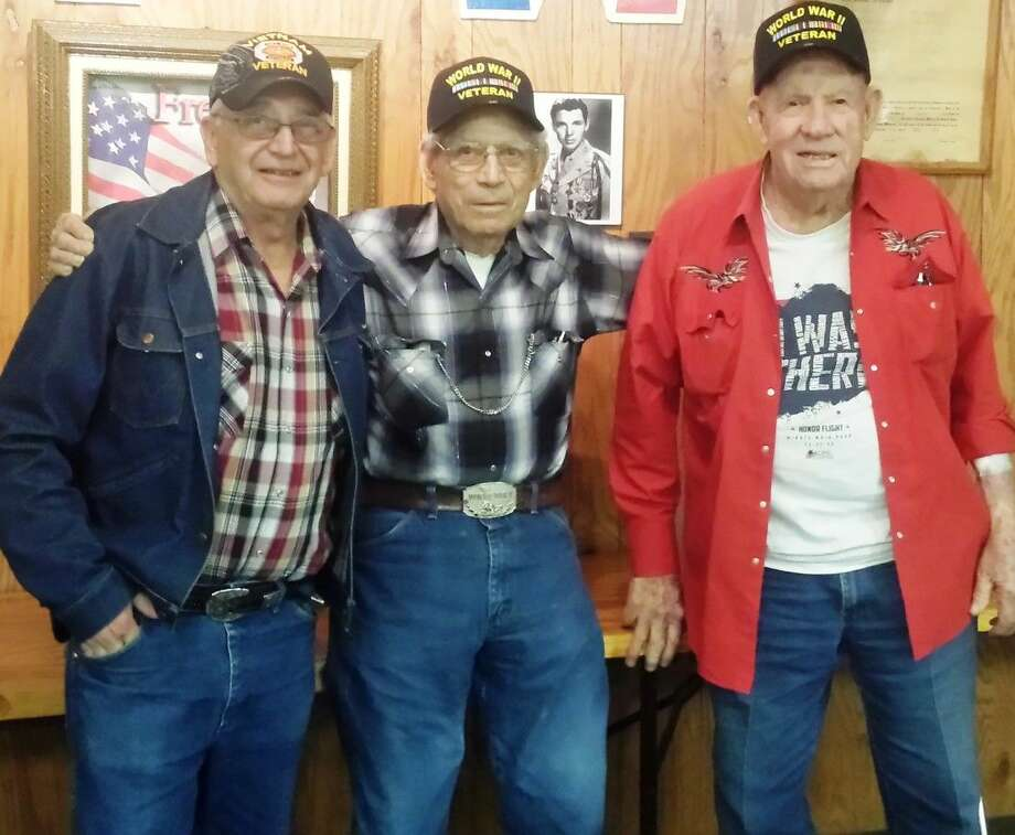 VFW Post 1839 Commander Rick Clardy (left) recommended fellow veterans E.T. Clark (middle) and Sid Evans for the Honor Flight Network, which flies veterans to memorials built in Washington D.C. Not pictured, but making the flight also, is Verner Odell Lathrop. Photo: Stephanie Buckner