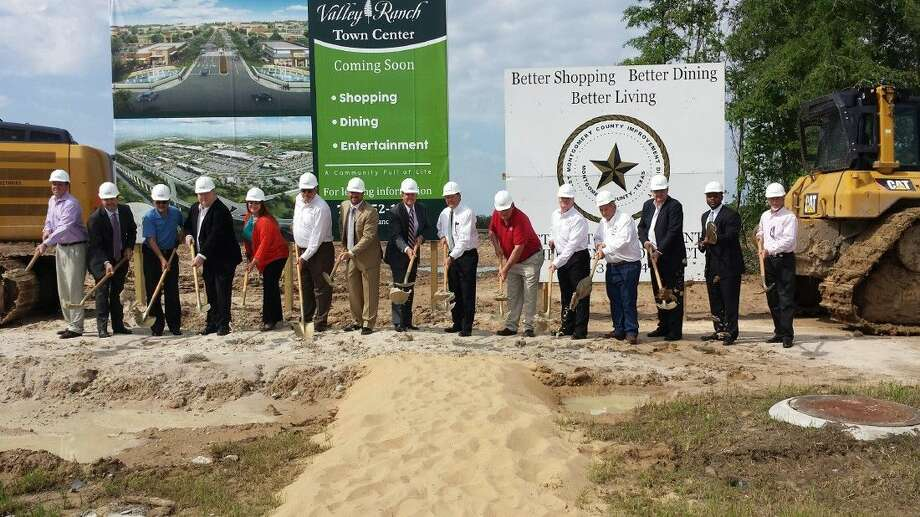 Representatives from the Signorelli Company along with Montgomery County Precinct 4 Commissioner Jim Clark, the East Montgomery County Improvement District, the New Caney Independent School District and Montgomery County Judge Craig Doyal broke ground on the Valley Ranch Town Center April 15, 2015.
