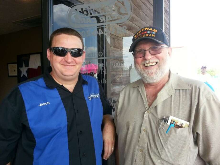 Jason and William Rogers at the patriotic celebration last year at Beckwith's Car Care.