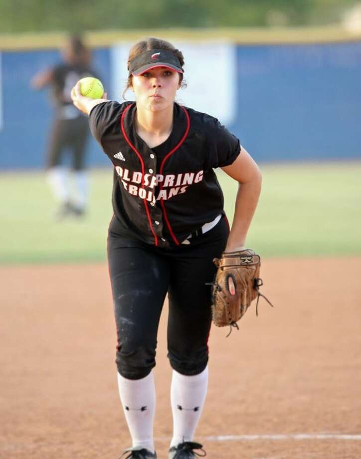 Jessica Lyle pitched for Coldspring Friday night, May 2, in their playoff double header against Sweeny. Photo: KAR B. HLAVA