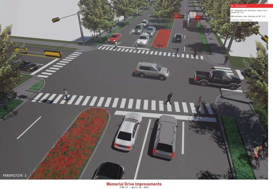 This artist's rendering shows the proposed improvements along Memorial Drive. The project would install wider medians and incorporate a shared bike/pedestrian path Photo: JGalles