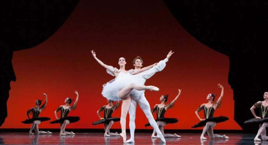 """Katharine Precourt, Aaron Robison and artists of Houston Ballet perform the ballet """"Paquita,"""" choreographed by Stanton Welch, after Marius Petipa. Photo: Amitava Sarkar"""