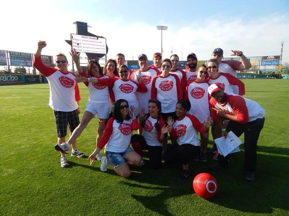 "Employees with Trendmaker Homes became the ""Slim Pickins"" during the Sugar Land Skeeters Kickball Classic. More than a dozen teams participated in the new annual event. Photo: Submitted Photo"