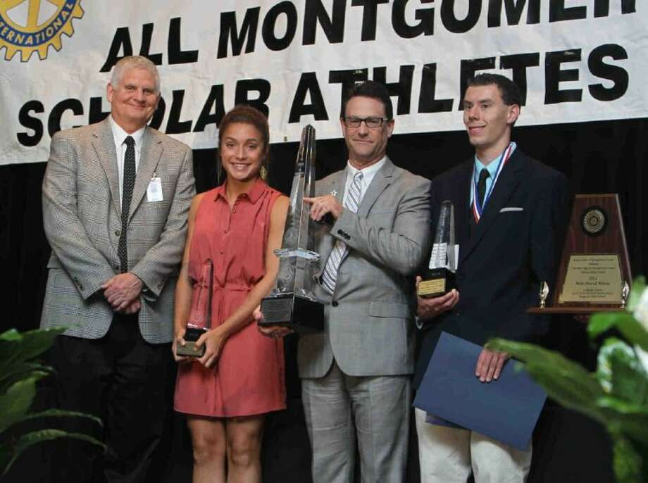 Montgomery's Delaney Maberry, second from left, and Magnolia's Casper Stinn, far right, were named the female and male overall gold winners during the Mike Ogg Montgomery County Scholar-Athlete Awards banquet on Wednesday at the Lone Star Convention and Exposition Center. To view or purchase this photo and others like it, visit HCNpics.com.