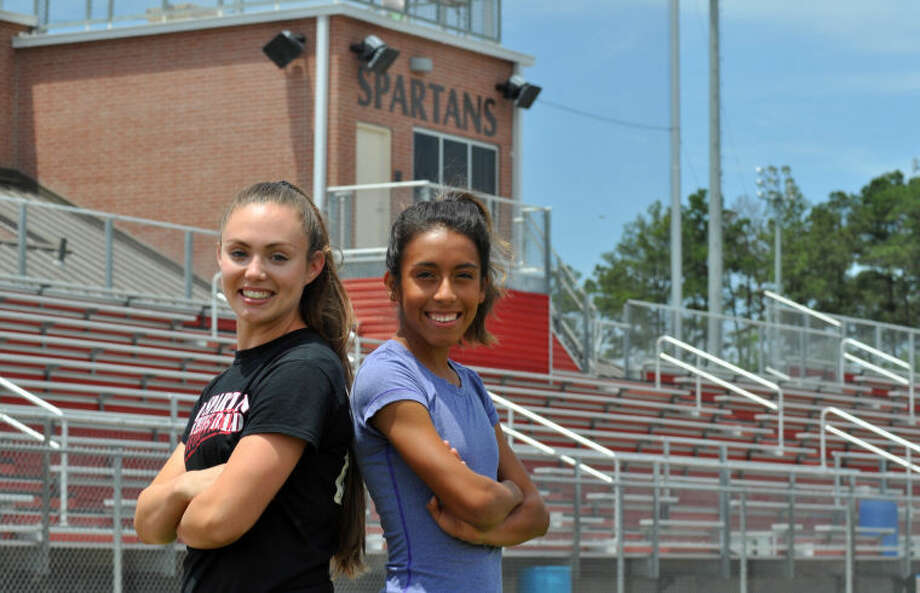 Porter's Alyssa Herrington and Evelyn Chavez will compete at the Class 4A UIL State Track and Field Championships in Austin on May 9-10. Photo: Keith MacPherson