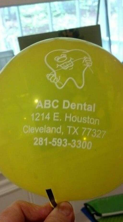 A North Carolina woman found a helium balloon belonging to a Cleveland, Texas, business in her driveway Thursday morning. Coincidentally, the woman herself has ties to Cleveland. Photo: Submitted