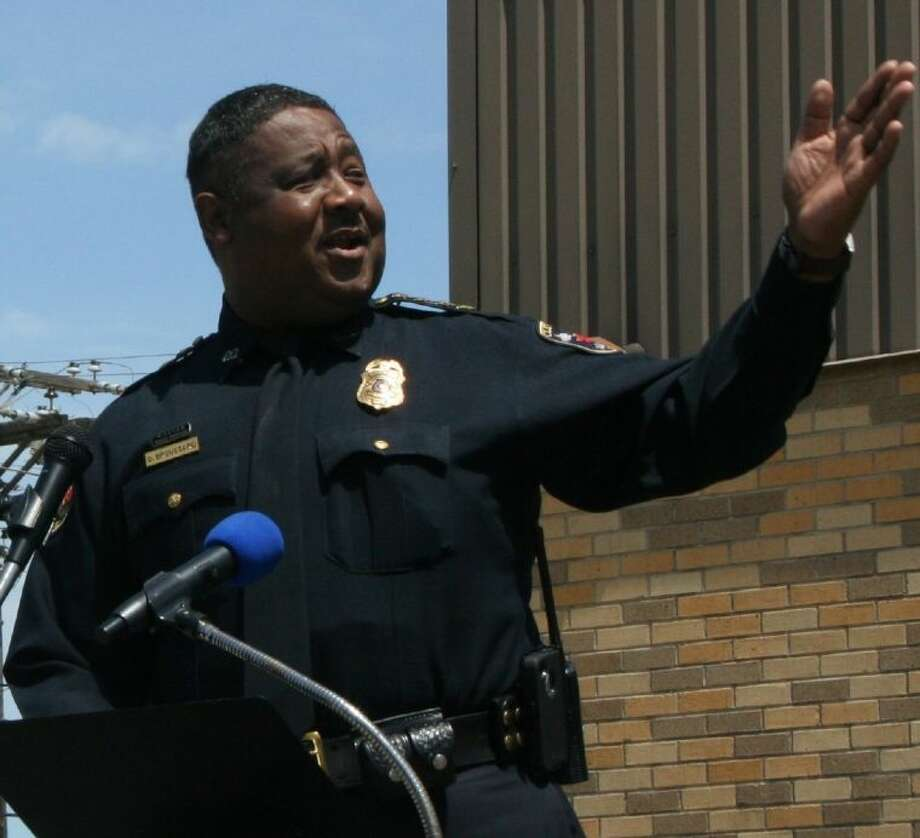 Cleveland Police Chief Darrel Broussard addresses the crowd at the National Day of Prayer ceremony on Thursday, May 1. Photo: STEPHANIE BUCKNER