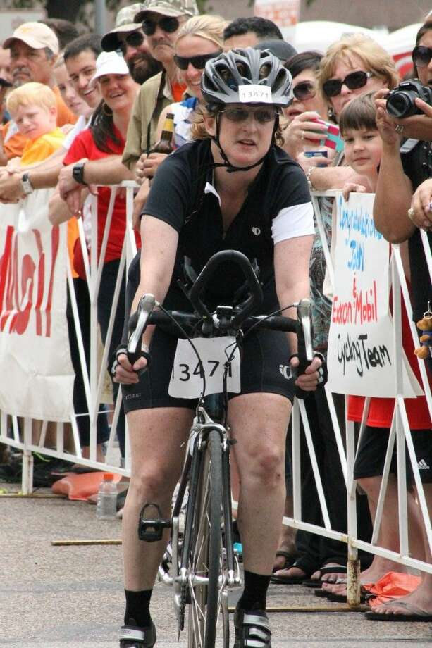 Courtney Condit rides in the BP MS 150 in 2014.