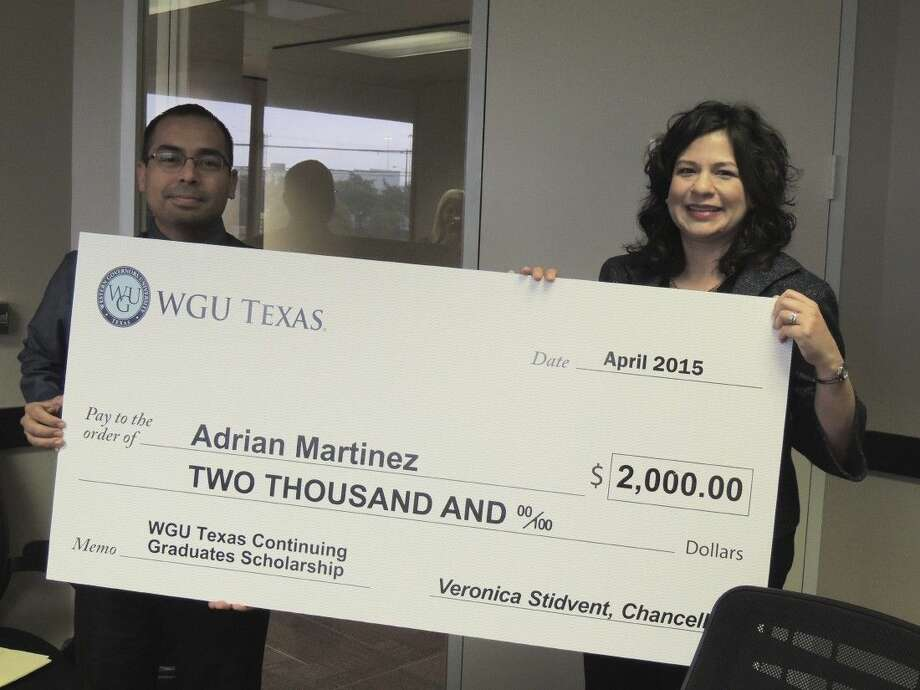 State-endorsed non-profit university WGU Texas awarded a $2,000 scholarship to Adrian Martinez, of Katy, as part of its Continuing Graduates Scholarship program. The surprise announcement was held recently at Houston Eye Associates, located in the Memorial area.