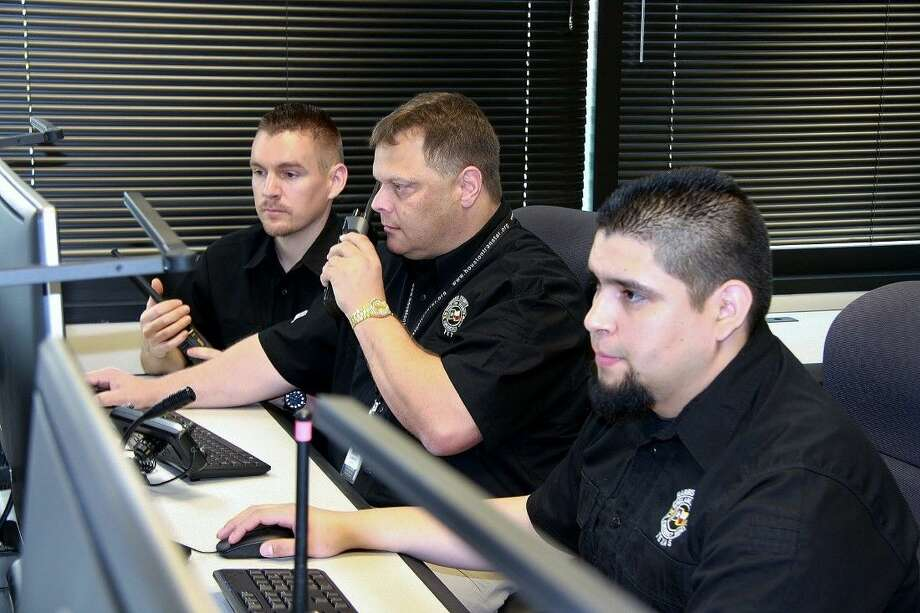 Harris County Office of Homeland Security & Emergency Management new communications center. L to R: Joshua Glover (KD5BSC), Joey Clements (W5BAK) and Mark Guzman (KG5ALQ) operate from TranStar (N5TRS).