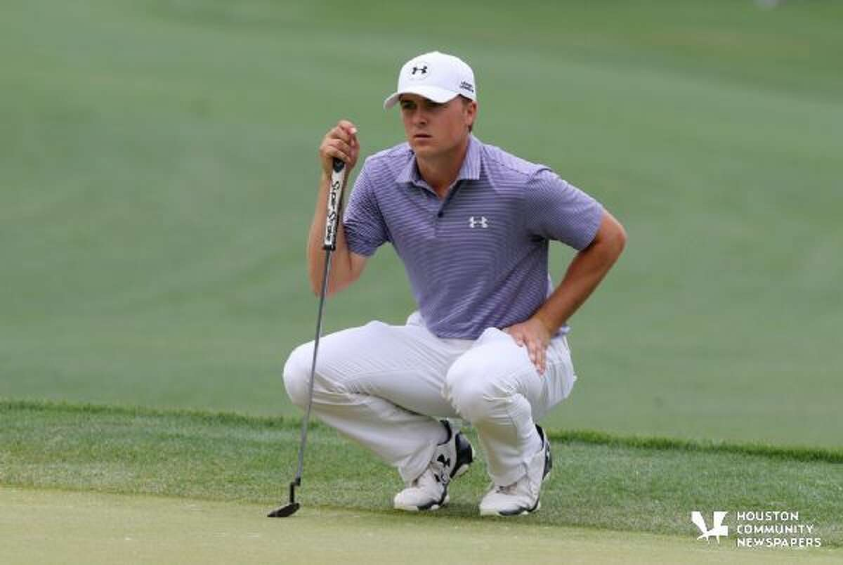 Jordan Spieth of Dallas, looks at his putt on the 8th green during the second round of the Shell Houston Open in Humble, Texas on Friday, April 3, 2015