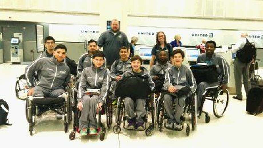 The TIRR Memorial Hermann Junior Hotwheels are on their way to Louisville, Ky., for the National Wheelchair Basketball Association National Tournament. Pictured in the front row from left to right are Angel Palomares, Dustin Stallberg, Aaron Berry and Peter Berry. Pictured in the middle row from left to right are Fabian Romo, Victor Meza, Abraham Hausman-Weiss, Carrington Marendes an d Daquan Minor. Pictured in the back row from left to right are head coach Trice Ham and assistant coach Ava Skrabanek.