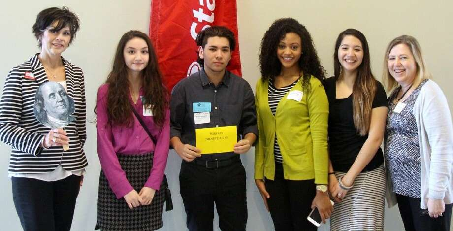 Pictured are (from left) State Farm agent Jessie McConchie and Turner College and Career High School teammates Victoria Gillis, Rafael Hinojosa, Estella Price and Alyssa Lopez and advisor Sheryl Von Ruff. (Photo courtesy of Texas Council on Economic Education).