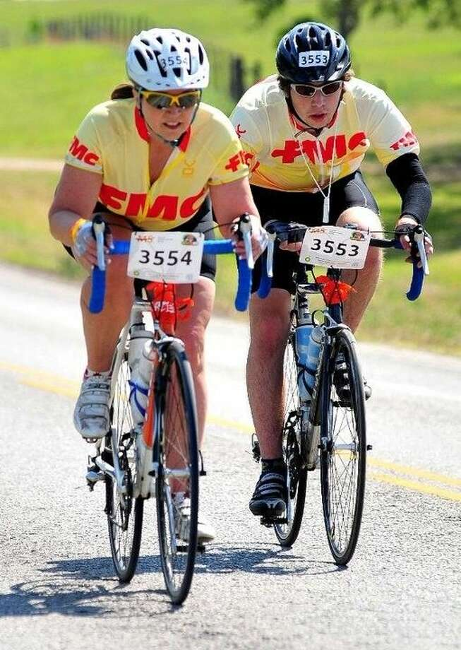 Katy resident Kathi Woolsey and her son Wes Reynal ride in the BP MS 150 in 2014.