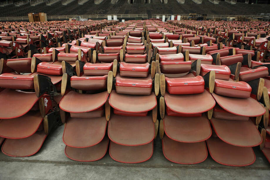 Seats are stacked inside the Astrodome during a 50th Birthday Party in Houston, Texas on Thursday, April 9, 2015. Photo: Staff Photo By Alan Warren