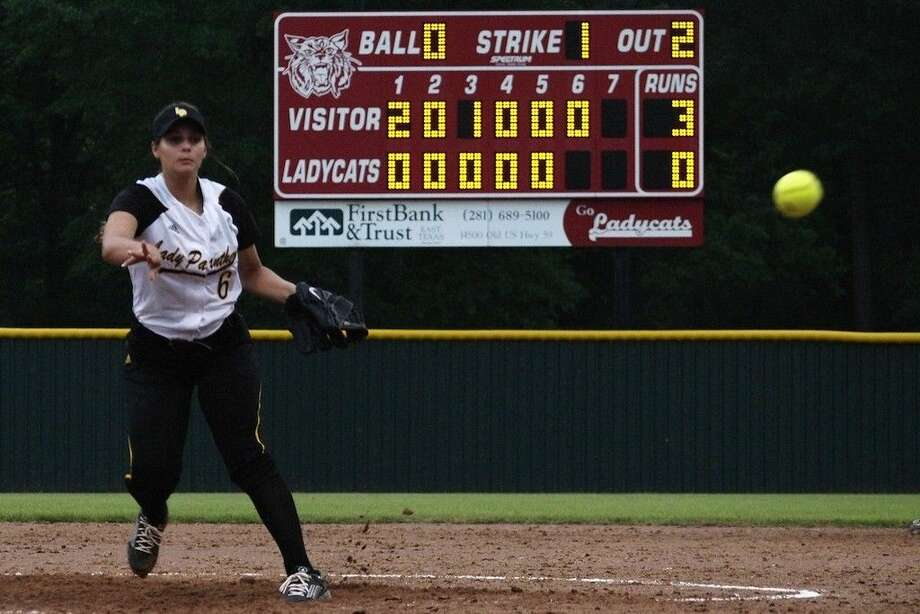 Lacey Vaughn pitched Liberty's 3-0 win at Splendora Friday, April 17, 2015. Photo: Casey Stinnett