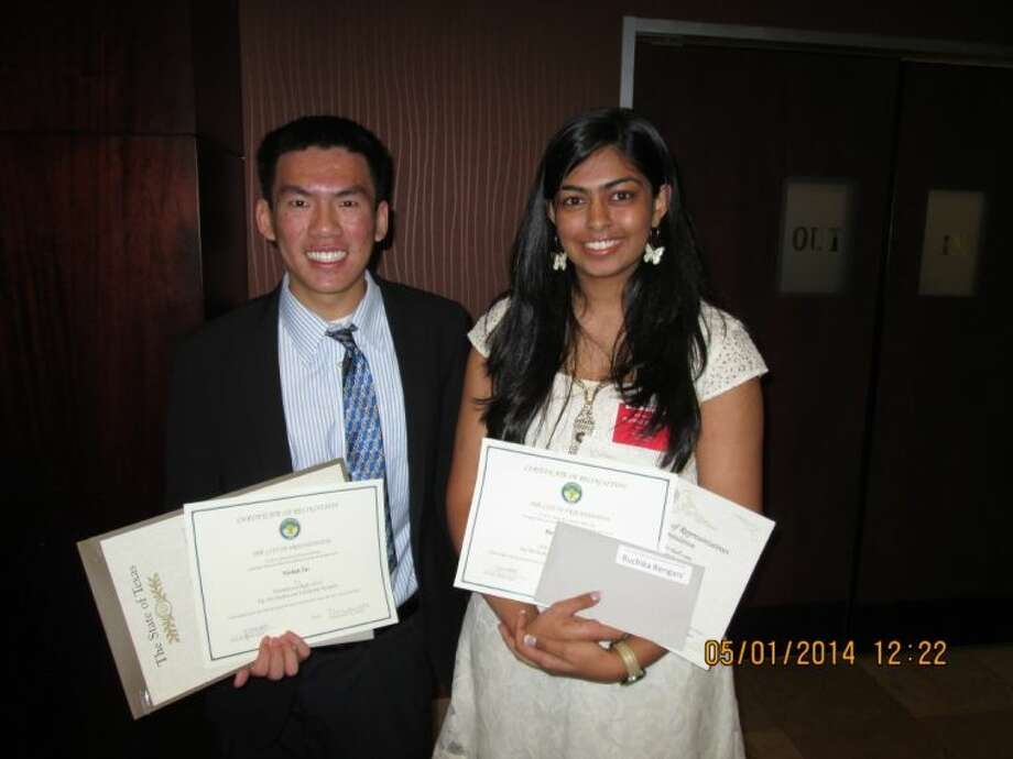 Nathan Tat and Ruchika Bengani at the Chamber of Commerce Luncheon where they received a Chamber scholarship. Both are in the top 10 percent of their class.