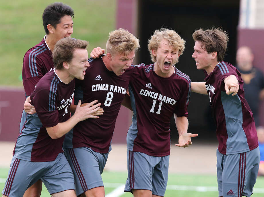 Cinco Ranch celebrates a goal against Aldine during the Region 3 Soccer Tournament Final, April 11 at Abshier Stadium in Deer Park. The undefeated Cougars eliminated Arlington Sam Houston in the state semifinals to reach the first state championship match in school history To view or purchase this photo and others like it, go to HCNPics.com.