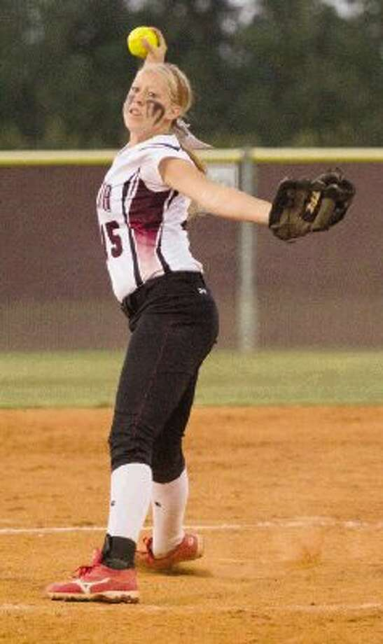 Magnolia pitcher Cori Cooper delivers during a Region III-4A area playoff game against Kingwood Park on Friday at Magnolia High School. To view or purchase this photo and others like it, visit HCNpics.com. Photo: Staff Photo By Ana Ramirez / Conroe Courier