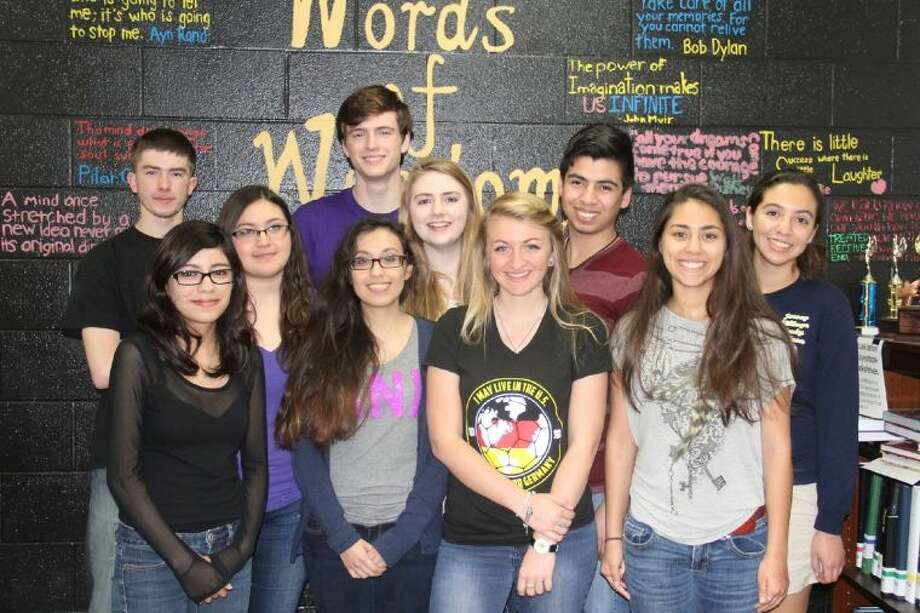 Jersey Village journalism students won awards in the Press Women of Texas Edith Fox King 2014 High School Journalism Contest. Pictured (front row, L-R) are: Iveth Garcia, Natalie Solano, Marieke Alsguth and Christin Ong; (second row) Natassha Arreola, Kelsey Hodges and Alexander Cruz; and (back row) Matt DuBose and Joel Montfort. Photo: Submitted Photo