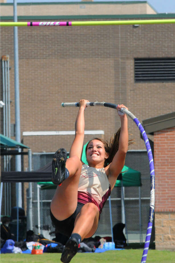 Magnolia West's Candace Gordon won the gold medal in the pole vault at the District 19-5A Track & Field Championships April 15-16 at Stratford High School Photo: Staff Photo By Tony Gaines