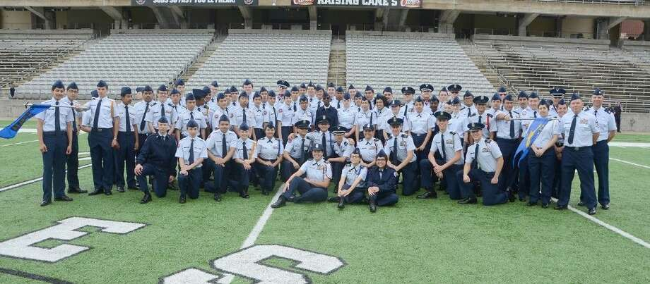 Cy-Fair High School AFJROTC Unit TX-20057 celebrates a successful Pass in Review on April 18 at the Berry Center.