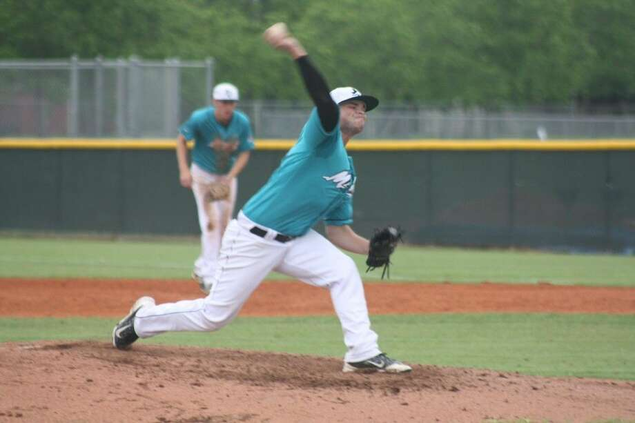 Mavs pitcher Logan Portis delivers to the plate, en route to his no-hitter against Sam Rayburn. He finished with 10 strikeouts.