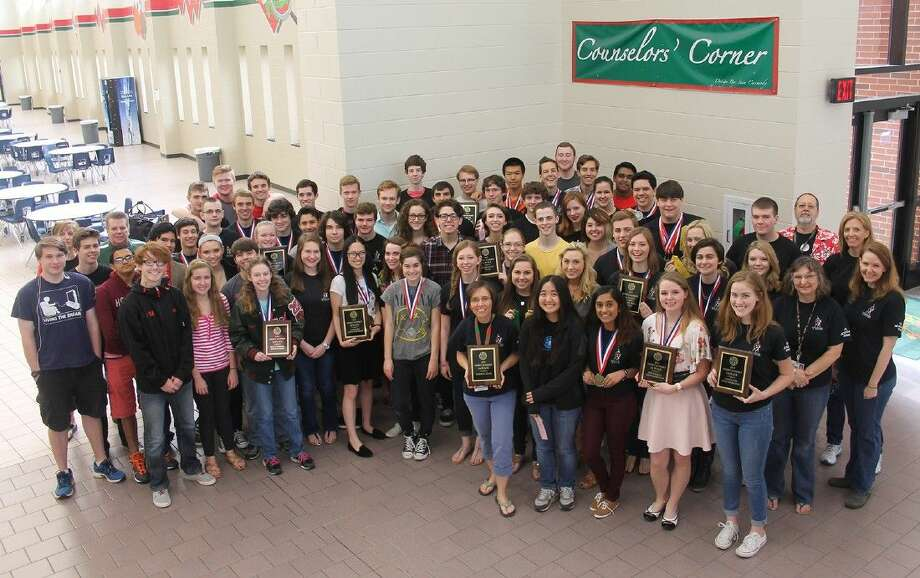 Students from The Woodlands High School after winning the district academic meet. They defeated second-place Kingwood High School 577-322 in March.