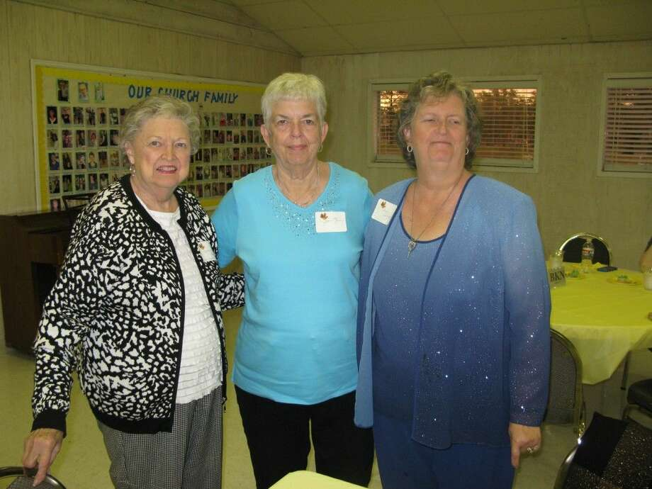 Pictured at the potluck social are Marlene Broome of Friendswood; Jean Kern of Friendswood and Diana Embry of Friendswood.