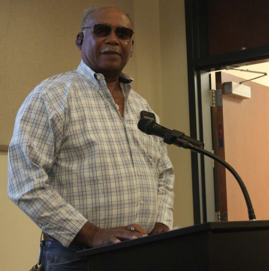 """Odell McDuffie of McDuffie Trucking speaks before Cleveland City Council regarding the Truck Parking Ordinance, listing his displeasure with it and believing it to be a """"black witch hunt."""" Photo: Jacob McAdams"""