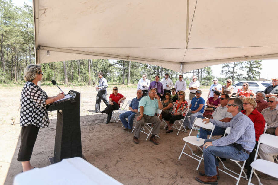 Tomball Mayor Gretchen Fagan speaks at the Tomball Business and Technology Park's groundbreaking ceremony on Tuesday, May 6, 2014, in Tomball. Photo: Michael Minasi
