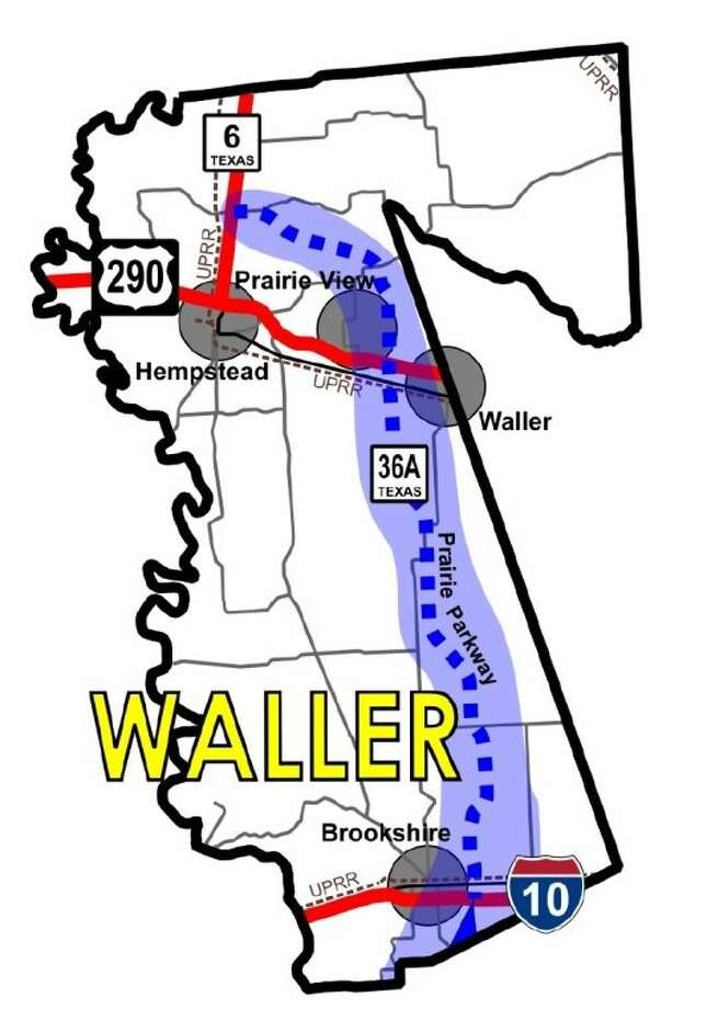 Map of Highway 36A through Waller County