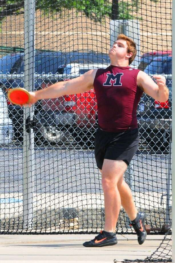 Magnolia's Spencer Nigh took finished two-for-tow by taking home the gold in shot put and discus at the 19-5A Track & Field District Championships. Photo: Photographer