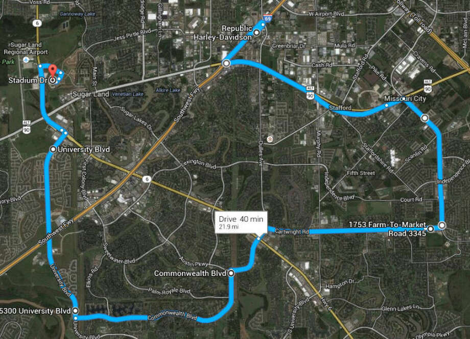 The map of the route forSugar Land's 6th Annual Law Enforcement Memorial Ride Saturday, May 10. Photo: Photo Courtesy City Of Sugar Land