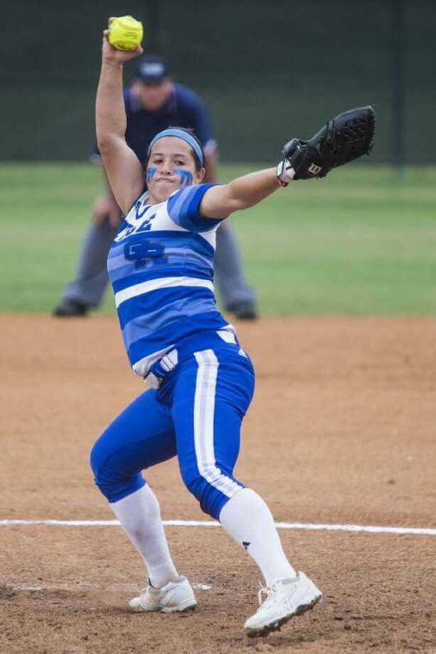 Oak Ridge's Jessica Rodriguez, here pitching in Game 1, guided the Lady War Eagles past Kingwood 8-4 on Friday night, tying the Region II-5A series at one game each.