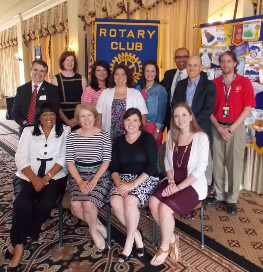 Pictured (seated from left) are: Rosalind Riggs, Glover Elementary; Michelle Nelson-Archer, Secondary Teacher of the Year from Sartartia Middle School; Shareé Quick, Elementary Teacher of the Year from Lakeview Elementary; Christine Badillo, Clements High School; and (standing, from left) Ward Pendleton, Sugar Land Rotary president; Nancy Dickinson, Ridge Point High School; Jocelyn Calisto, Mission Bend Elementary; Michele Rose, Drabek Elementary; Stephanie Sykes, Fleming Elementary; FBISD Superintendent of Schools Dr. Charles Dupre; David Christie, Austin High School; and Thomas Wernau, Travis High School. Not pictured is Danée Pfeiffer of Cornerstone Elementary, who was unable to attend. Photo: Photo Courtesy FBISD