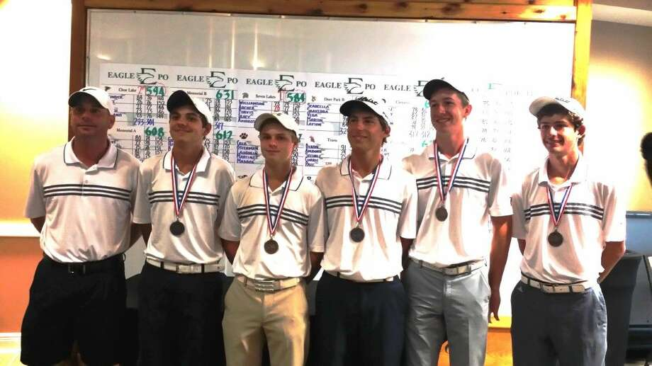 The Clear Lake boys golf team has advanced to the Class 6A state tournament to be played Monday and Tuesday in Georgetown. Team members (left to right) are head coach David Monsrud, Reed Giesinger, Nate Zahn, Cody Banach, Gavyn Freeland and Matt Jouett. Photo: SUBMITTED PHOTO
