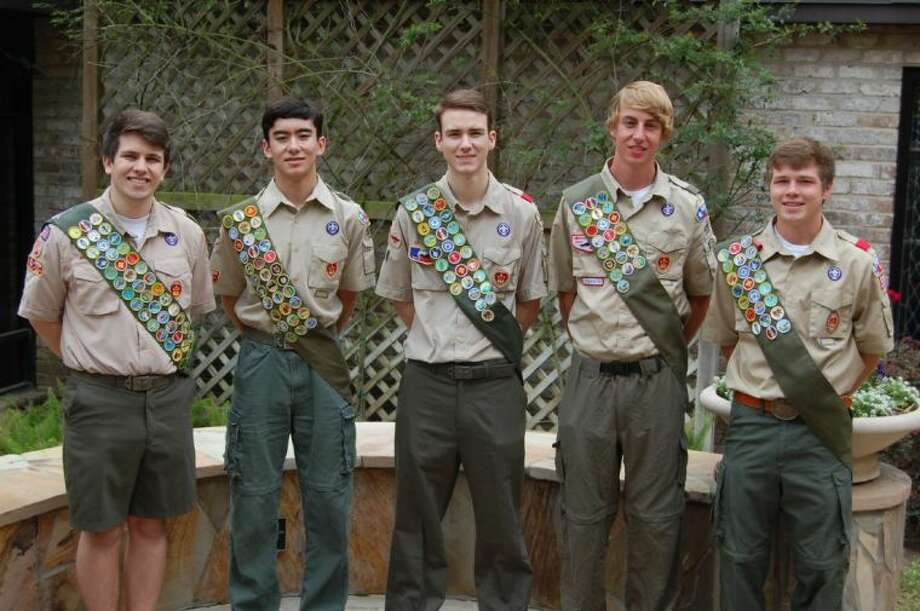 Troop 599 scouts recently awarded Eagle are (from left) Trent McGuinness, Samuel Dunlap, Brian Linderman, Justin Wood and Grant Johnson.
