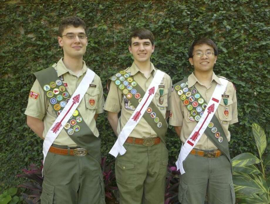 Troop 642 scouts recently awarded Eagle are (from left) Simon Petty, David Humphrey and Frank Yang. Photo: Submitted